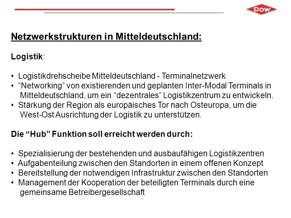 Netzwerkstrukturen in Mitteldeutschland: Logistik: Logistikdrehscheibe Mitteldeutschland - Terminalnetzwerk Networking von existierenden und geplanten