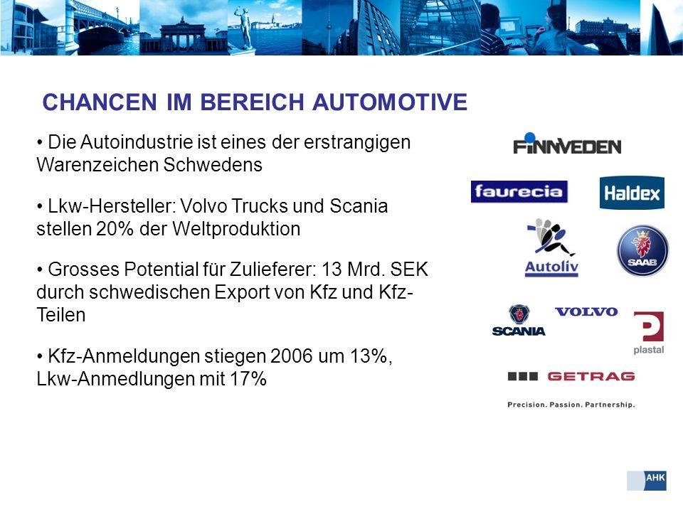 Die Autoindustrie ist eines der erstrangigen Warenzeichen Schwedens Lkw-Hersteller: Volvo Trucks und Scania stellen 20% der Weltproduktion Grosses Pot