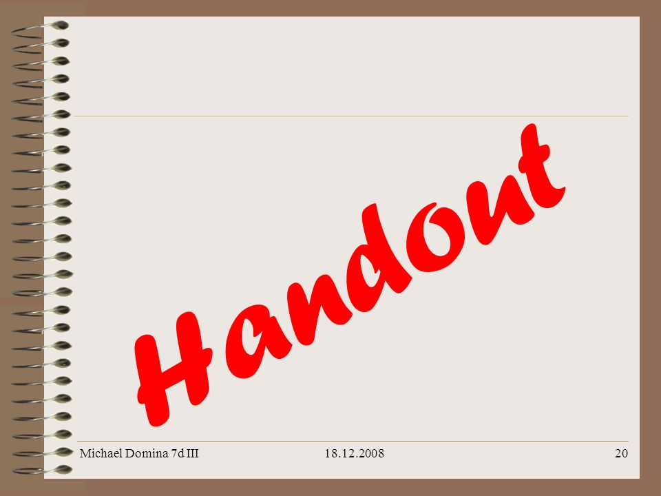 Michael Domina 7d III18.12.200820 H a n d o u t