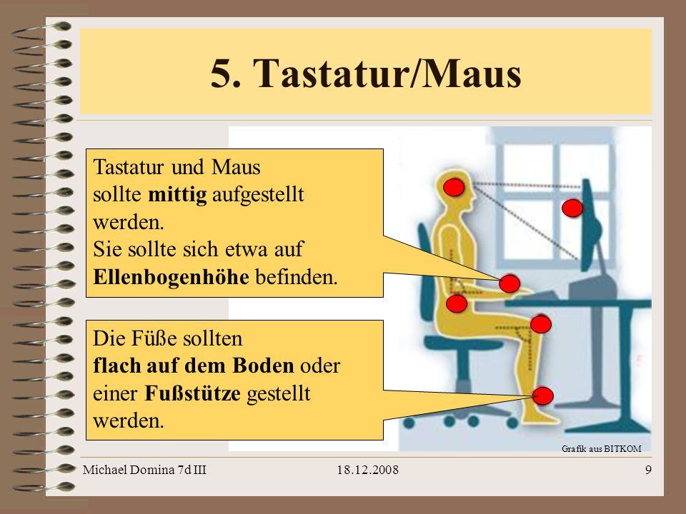 Michael Domina 7d III18.12.20089 Grafik aus BITKOM 5. Tastatur/Maus Die Füße sollten flach auf dem Boden oder einer Fußstütze gestellt werden. Tastatu