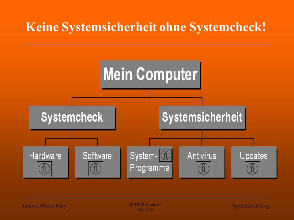 Lehrer: Pedro May SCHILF-Traunreut Mai 2005 Systemwartung Keine Systemsicherheit ohne Systemcheck!