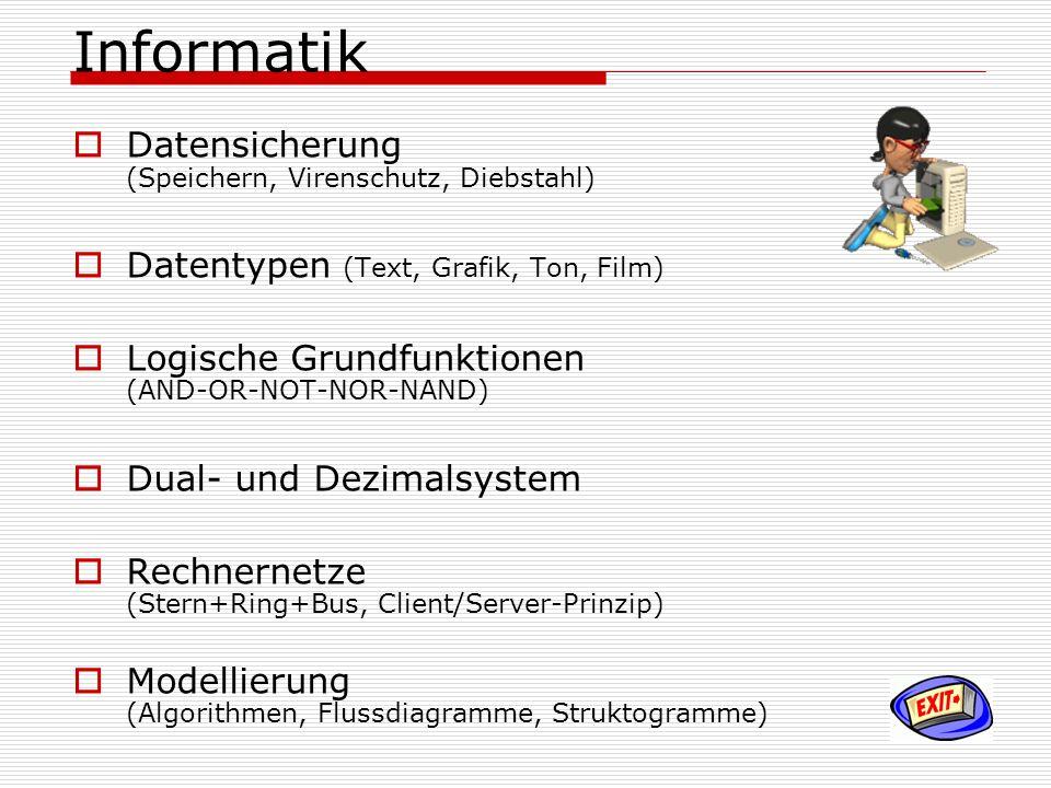 Informatik Datensicherung (Speichern, Virenschutz, Diebstahl) Datentypen (Text, Grafik, Ton, Film) Logische Grundfunktionen (AND-OR-NOT-NOR-NAND) Dual