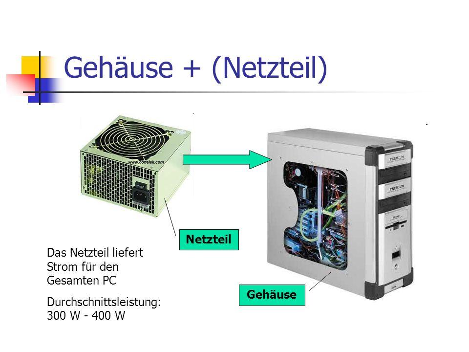 Gehäuse + (Netzteil) Das Netzteil liefert Strom für den Gesamten PC Durchschnittsleistung: 300 W - 400 W Gehäuse Netzteil