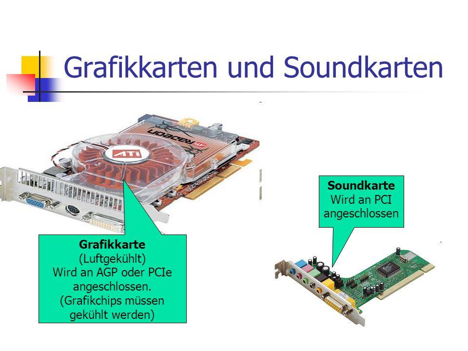 Grafikkarten und Soundkarten Grafikkarte (Luftgekühlt) Wird an AGP oder PCIe angeschlossen. (Grafikchips müssen gekühlt werden) Soundkarte Wird an PCI