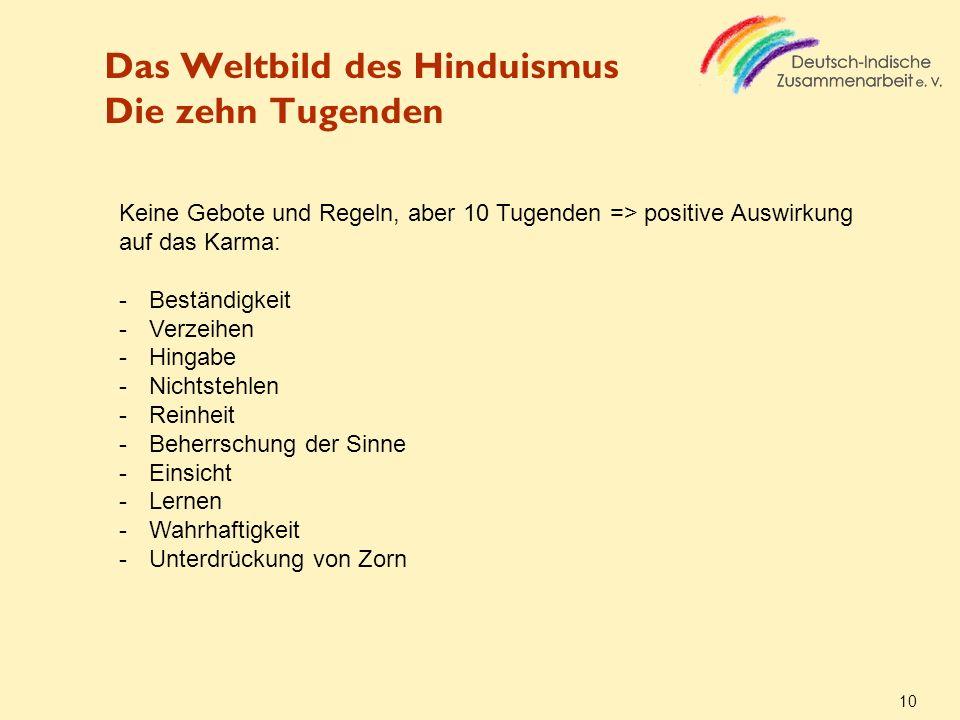 Das Weltbild des Hinduismus Die zehn Tugenden 10 Keine Gebote und Regeln, aber 10 Tugenden => positive Auswirkung auf das Karma: -Beständigkeit -Verze
