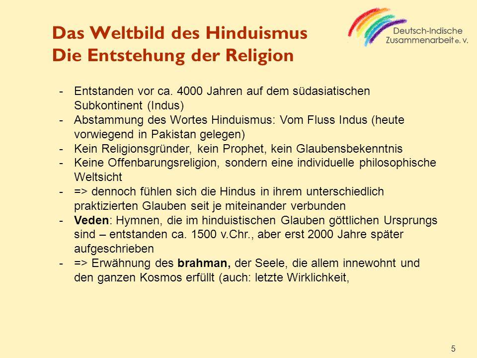 Das Weltbild des Hinduismus Die Entstehung der Religion 5 -Entstanden vor ca. 4000 Jahren auf dem südasiatischen Subkontinent (Indus) -Abstammung des
