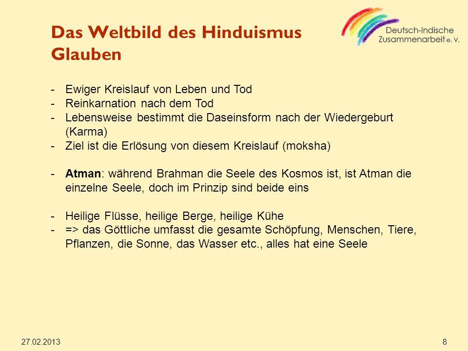 Das Weltbild des Hinduismus Glauben 27.02.2013 8 -Ewiger Kreislauf von Leben und Tod -Reinkarnation nach dem Tod -Lebensweise bestimmt die Daseinsform