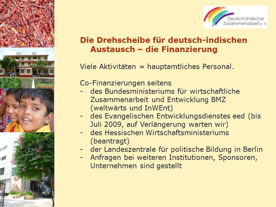 Die Drehscheibe für deutsch-indischen Austausch – die Finanzierung Viele Aktivitäten = hauptamtliches Personal. Co-Finanzierungen seitens -des Bundesm