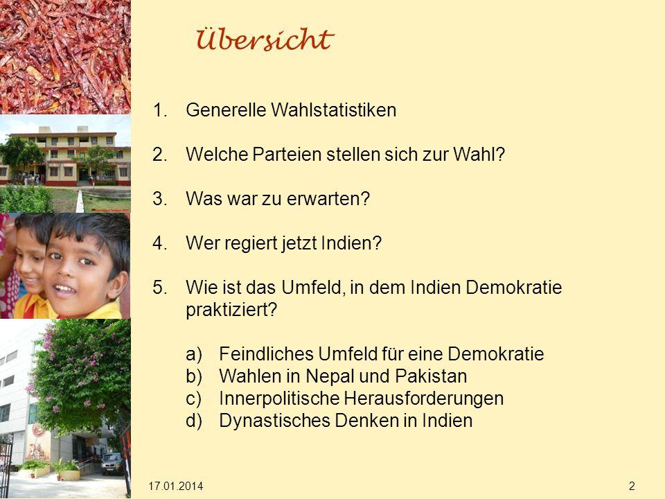 17.01.2014 2 Übersicht 1.Generelle Wahlstatistiken 2.Welche Parteien stellen sich zur Wahl.