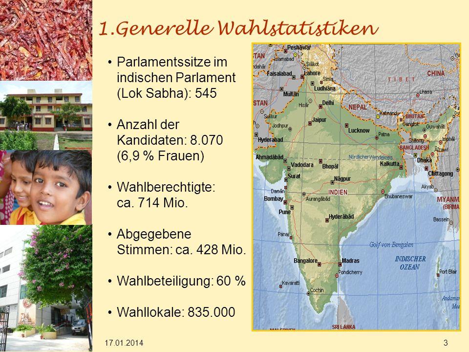 17.01.2014 3 1.Generelle Wahlstatistiken Parlamentssitze im indischen Parlament (Lok Sabha): 545 Anzahl der Kandidaten: 8.070 (6,9 % Frauen) Wahlberechtigte: ca.