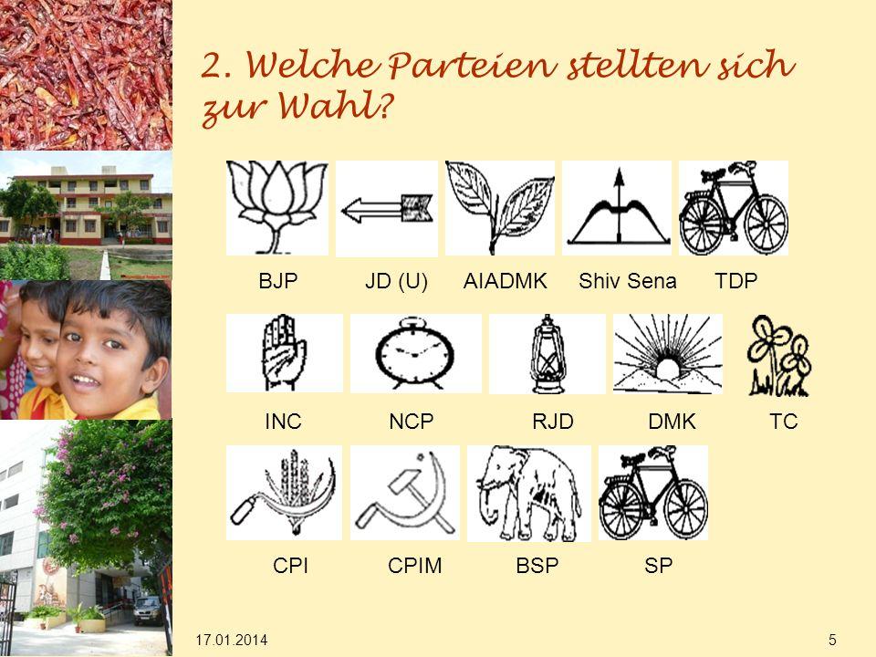 2. Welche Parteien stellten sich zur Wahl? 17.01.2014 5 BJP JD (U) AIADMK Shiv Sena TDP INC NCP RJD DMK TC CPI CPIM BSP SP