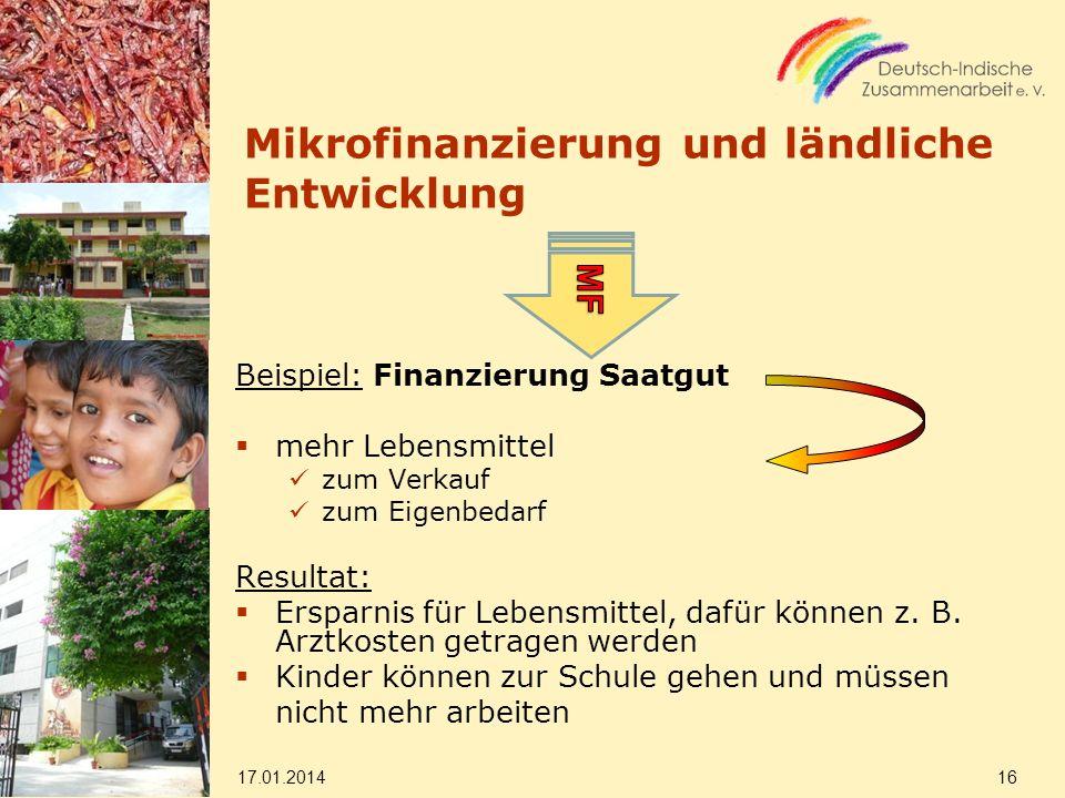 Mikrofinanzierung und ländliche Entwicklung Beispiel: Finanzierung Saatgut mehr Lebensmittel zum Verkauf zum Eigenbedarf Resultat: Ersparnis für Lebensmittel, dafür können z.