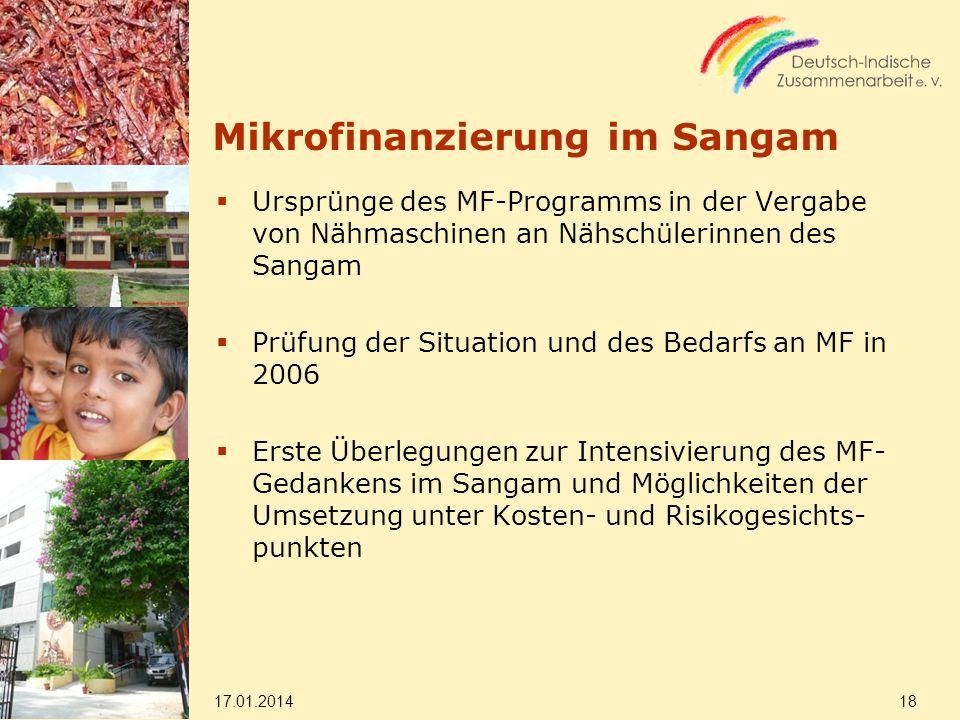 Mikrofinanzierung im Sangam Ursprünge des MF-Programms in der Vergabe von Nähmaschinen an Nähschülerinnen des Sangam Prüfung der Situation und des Bed