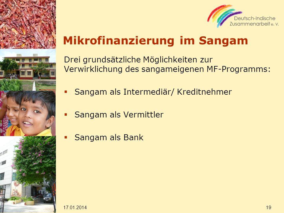 Mikrofinanzierung im Sangam Drei grundsätzliche Möglichkeiten zur Verwirklichung des sangameigenen MF-Programms: Sangam als Intermediär/ Kreditnehmer Sangam als Vermittler Sangam als Bank 17.01.2014 19