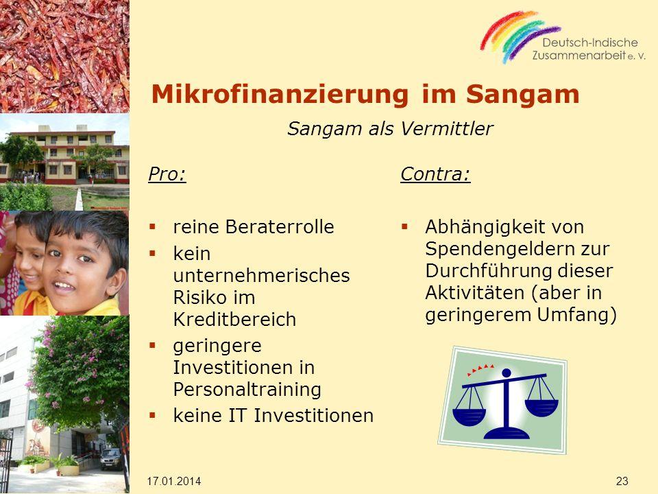 Mikrofinanzierung im Sangam Pro: reine Beraterrolle kein unternehmerisches Risiko im Kreditbereich geringere Investitionen in Personaltraining keine IT Investitionen Contra: Abhängigkeit von Spendengeldern zur Durchführung dieser Aktivitäten (aber in geringerem Umfang) Sangam als Vermittler 17.01.2014 23
