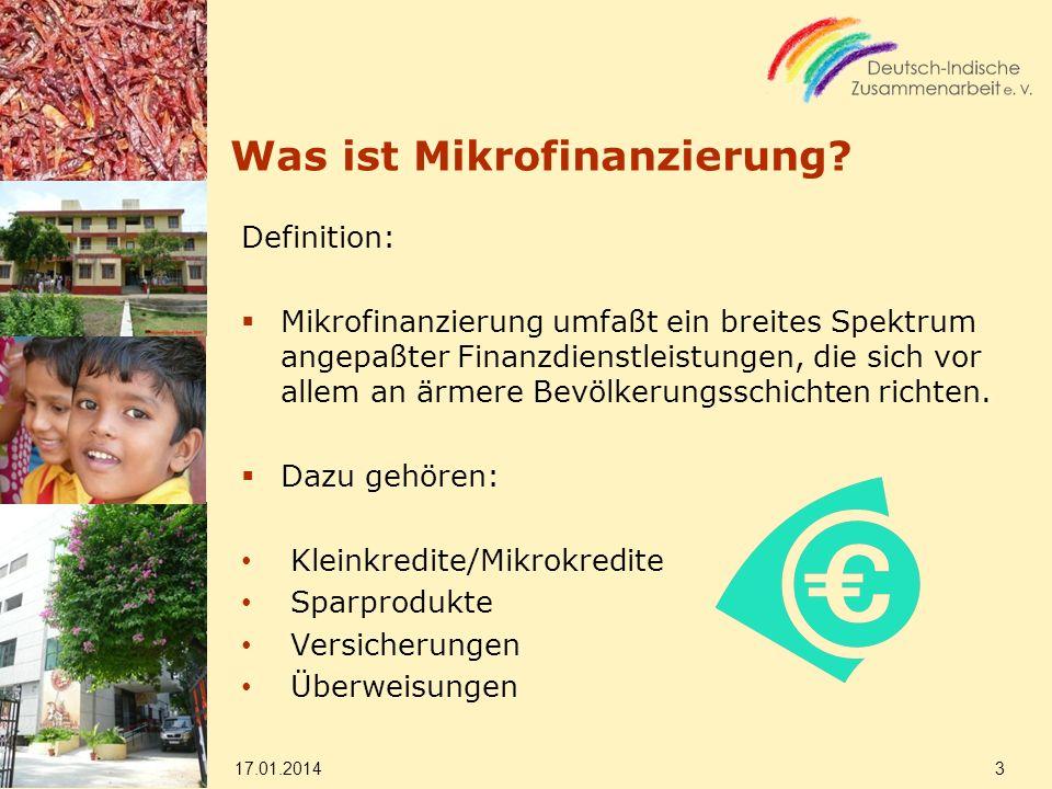 Was ist Mikrofinanzierung? Definition: Mikrofinanzierung umfaßt ein breites Spektrum angepaßter Finanzdienstleistungen, die sich vor allem an ärmere B