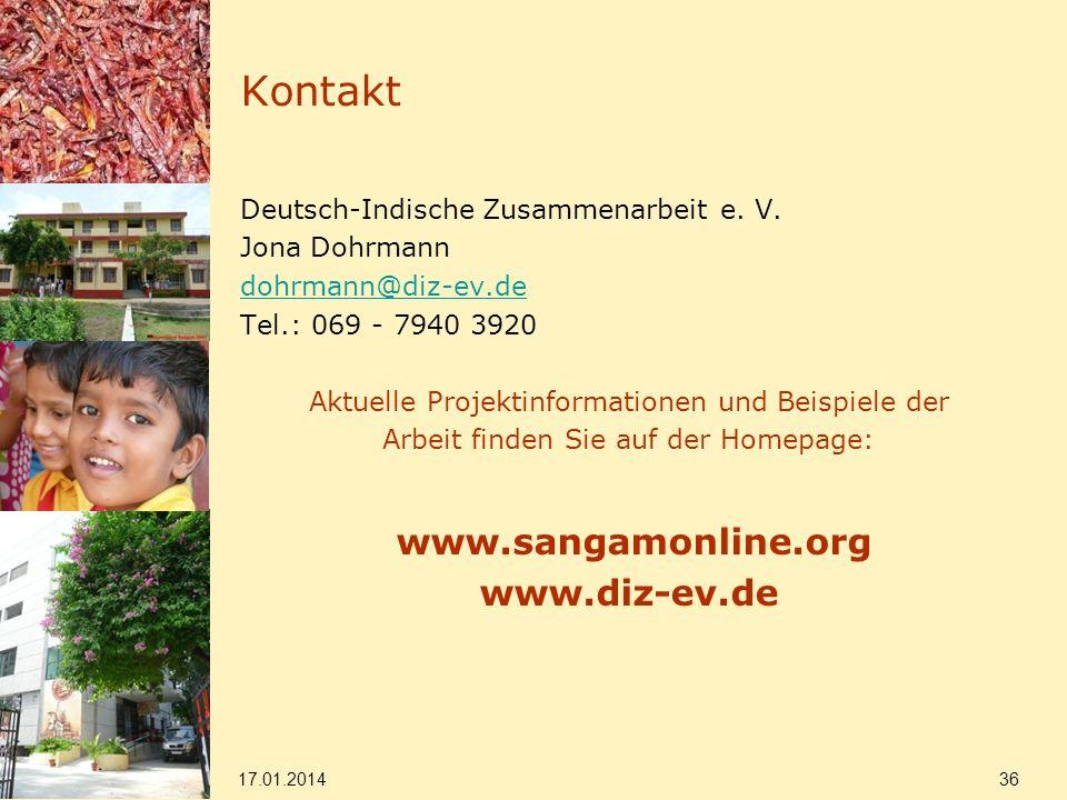 Kontakt Deutsch-Indische Zusammenarbeit e. V. Jona Dohrmann dohrmann@diz-ev.de Tel.: 069 - 7940 3920 Aktuelle Projektinformationen und Beispiele der A