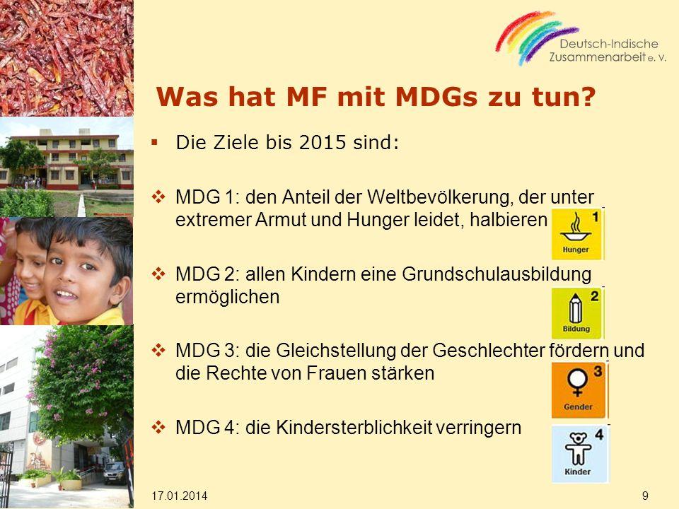 Was hat MF mit MDGs zu tun? Die Ziele bis 2015 sind: MDG 1: den Anteil der Weltbevölkerung, der unter extremer Armut und Hunger leidet, halbieren MDG