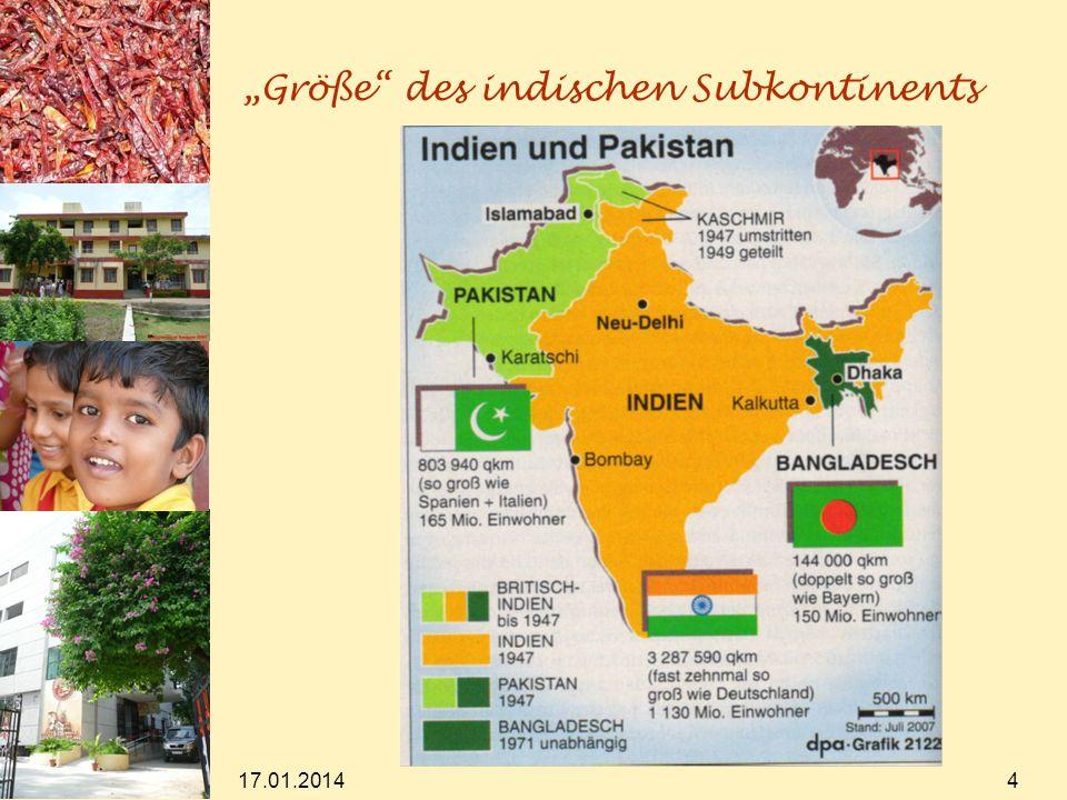 17.01.2014 5 Größe in Zahlen (2004/2005) Parlamentssitze im indischen Parlament (Lok Sabha): 545 (D: 598, davon 299 in Wahlkreisen, 299 über Liste) (davon werden 2 vom Präsidenten nominiert) Anzahl der Kandidaten: 5398 Wahlberechtigte: 671.524.934 (D: ca.