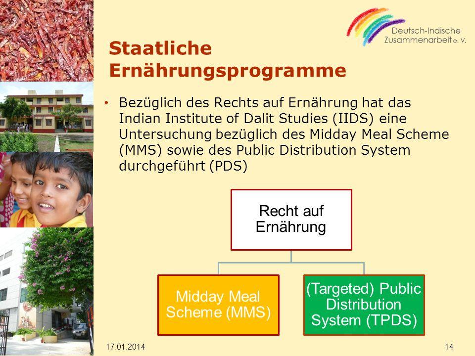 Staatliche Ernährungsprogramme Bezüglich des Rechts auf Ernährung hat das Indian Institute of Dalit Studies (IIDS) eine Untersuchung bezüglich des Mid