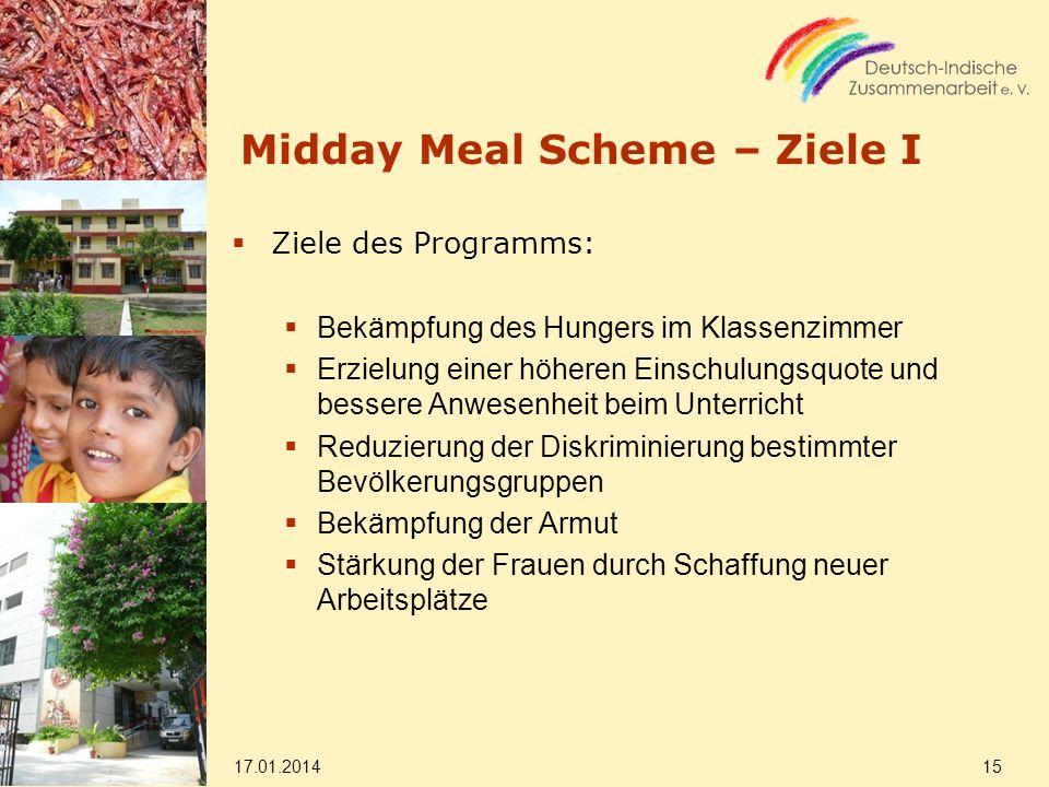 Midday Meal Scheme – Ziele I Ziele des Programms: Bekämpfung des Hungers im Klassenzimmer Erzielung einer höheren Einschulungsquote und bessere Anwese