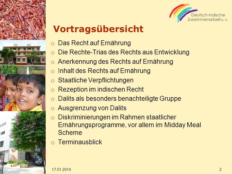 Vortragsübersicht o Das Recht auf Ernährung o Die Rechte-Trias des Rechts aus Entwicklung o Anerkennung des Rechts auf Ernährung o Inhalt des Rechts a