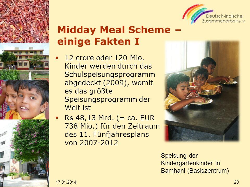 Midday Meal Scheme – einige Fakten I 12 crore oder 120 Mio. Kinder werden durch das Schulspeisungsprogramm abgedeckt (2009), womit es das größte Speis