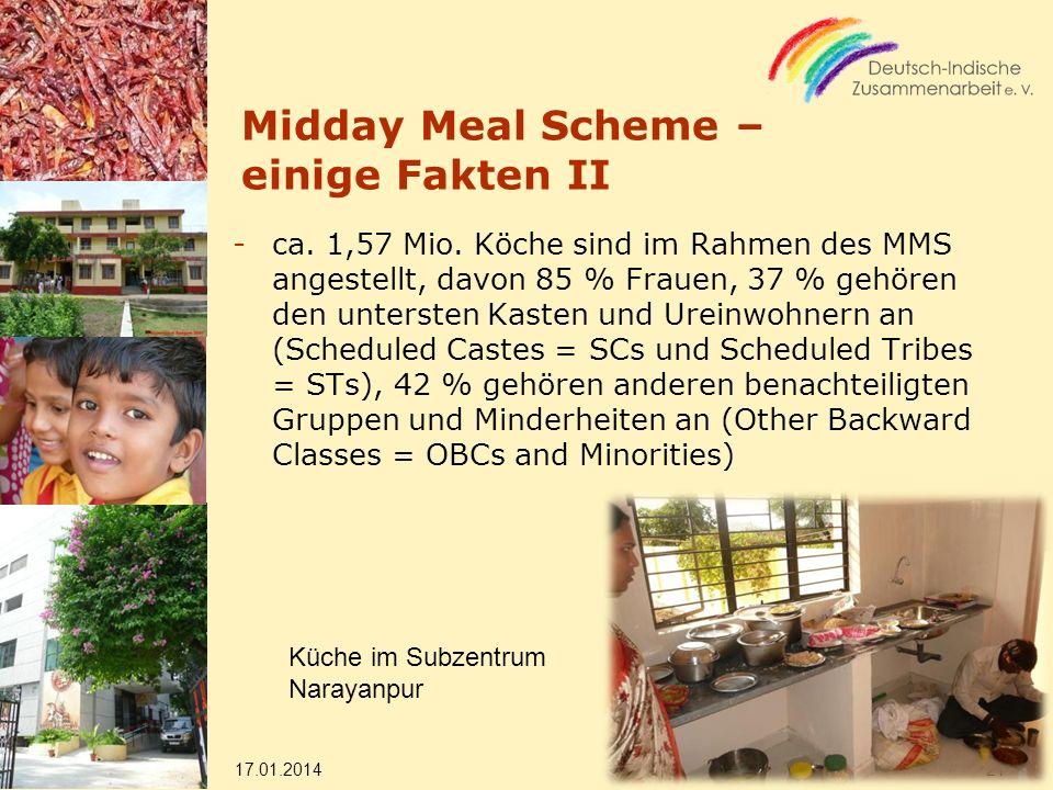 Midday Meal Scheme – einige Fakten II -ca. 1,57 Mio. Köche sind im Rahmen des MMS angestellt, davon 85 % Frauen, 37 % gehören den untersten Kasten und