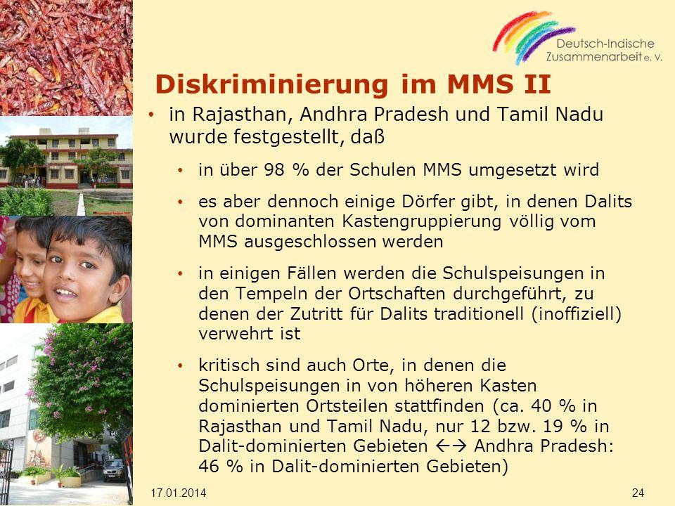 Diskriminierung im MMS II in Rajasthan, Andhra Pradesh und Tamil Nadu wurde festgestellt, daß in über 98 % der Schulen MMS umgesetzt wird es aber denn