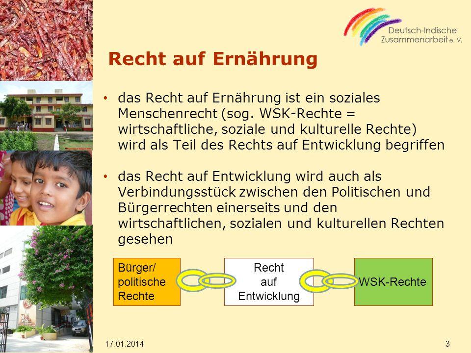 Recht auf Ernährung das Recht auf Ernährung ist ein soziales Menschenrecht (sog. WSK-Rechte = wirtschaftliche, soziale und kulturelle Rechte) wird als
