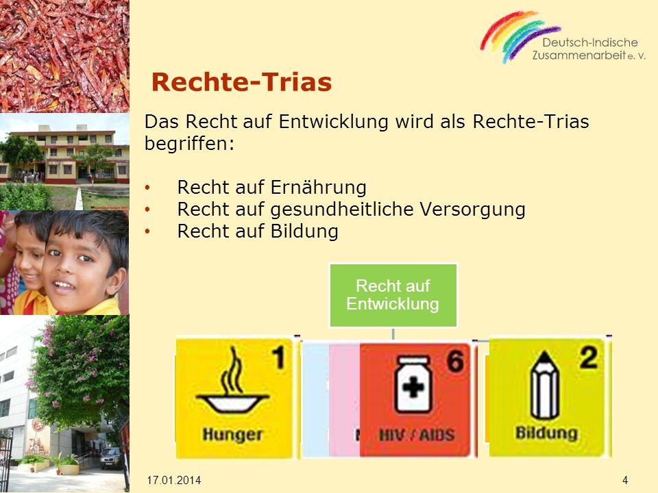 Rechte-Trias Das Recht auf Entwicklung wird als Rechte-Trias begriffen: Recht auf Ernährung Recht auf gesundheitliche Versorgung Recht auf Bildung 17.