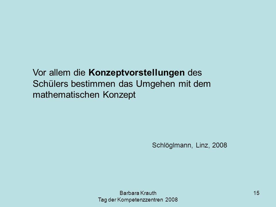 Barbara Krauth Tag der Kompetenzzentren 2008 15 Vor allem die Konzeptvorstellungen des Schülers bestimmen das Umgehen mit dem mathematischen Konzept S