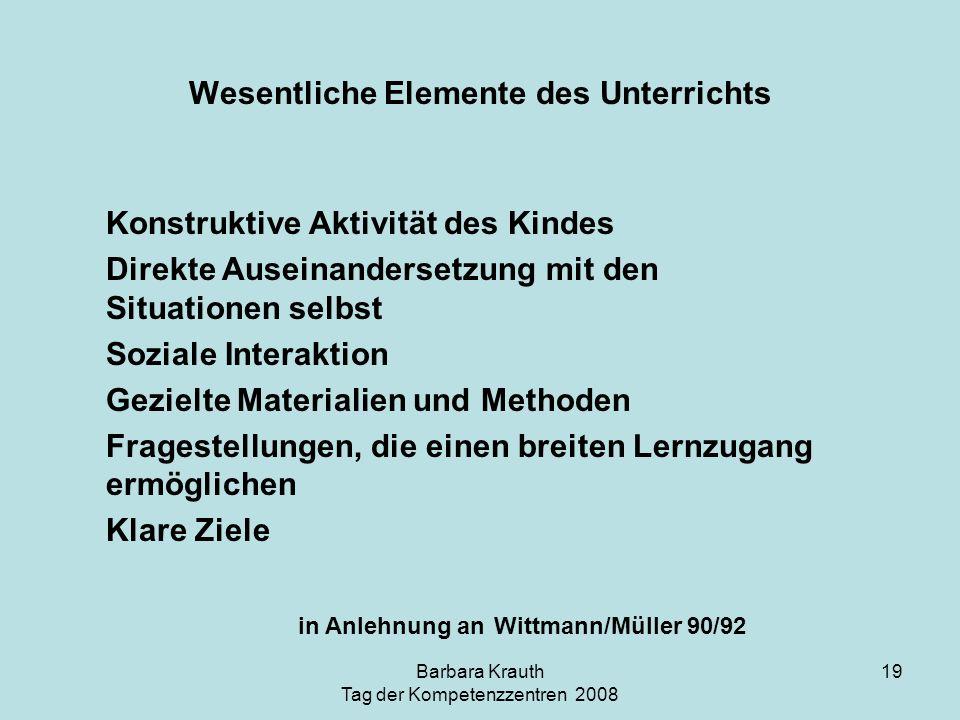 Barbara Krauth Tag der Kompetenzzentren 2008 19 Konstruktive Aktivität des Kindes Direkte Auseinandersetzung mit den Situationen selbst Soziale Intera