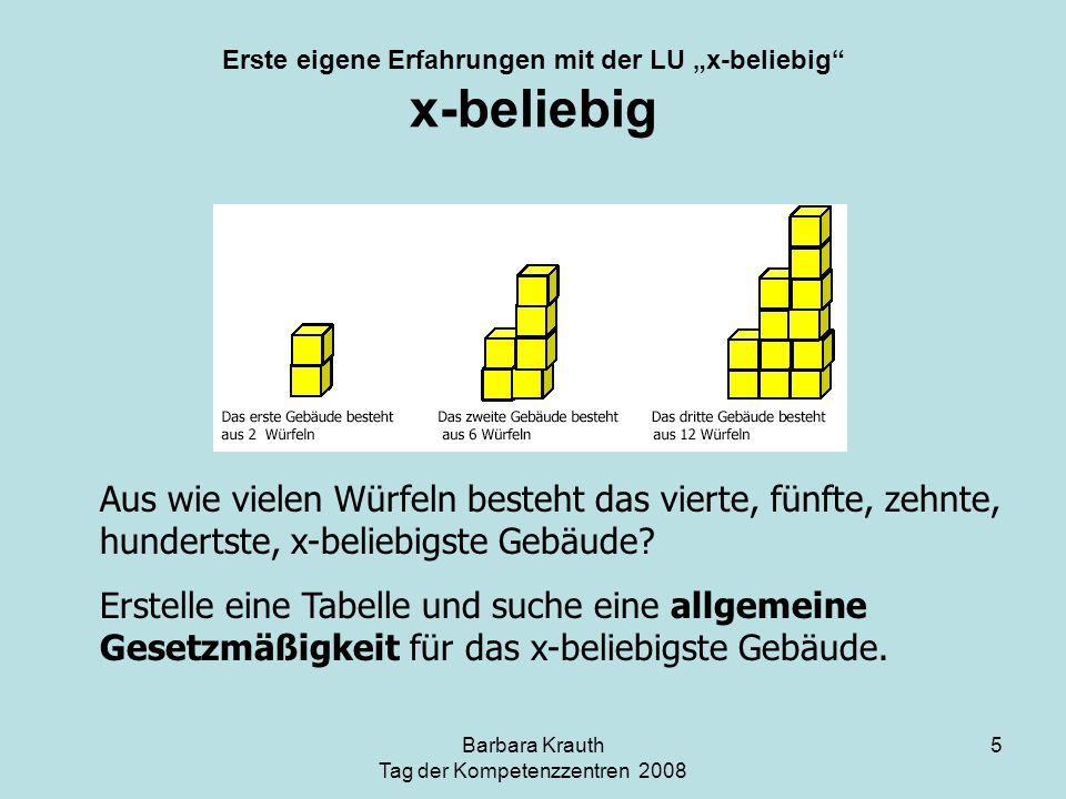 Barbara Krauth Tag der Kompetenzzentren 2008 5 Erste eigene Erfahrungen mit der LU x-beliebig x-beliebig Aus wie vielen Würfeln besteht das vierte, fü
