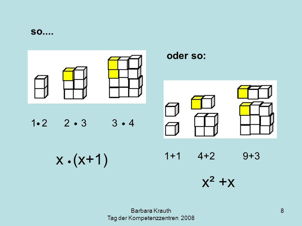 Barbara Krauth Tag der Kompetenzzentren 2008 8 so.... 1 2 2 3 3 4 1+1 4+2 9+3 x (x+1) x² +x oder so: