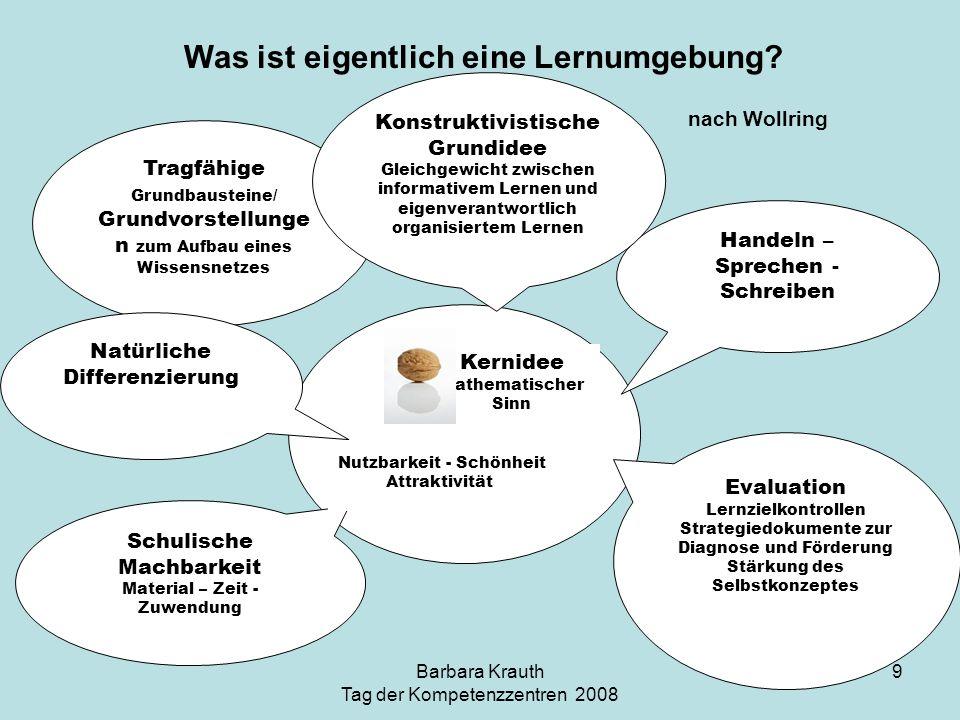 Barbara Krauth Tag der Kompetenzzentren 2008 30 Problemlösen Kommunizieren Argumentieren Modellieren Reflektieren eigener Lernprozesse: