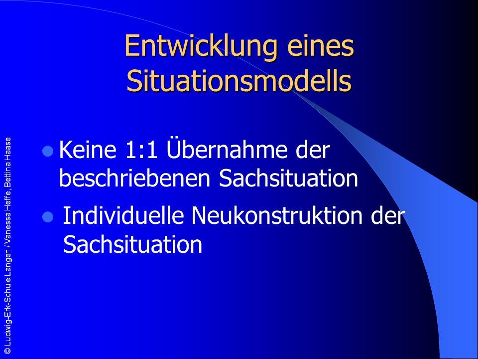 © Ludwig-Erk-Schule Langen / Vanessa Heffe, Bettina Haase Entwicklung eines Situationsmodells Keine 1:1 Übernahme der beschriebenen Sachsituation Individuelle Neukonstruktion der Sachsituation