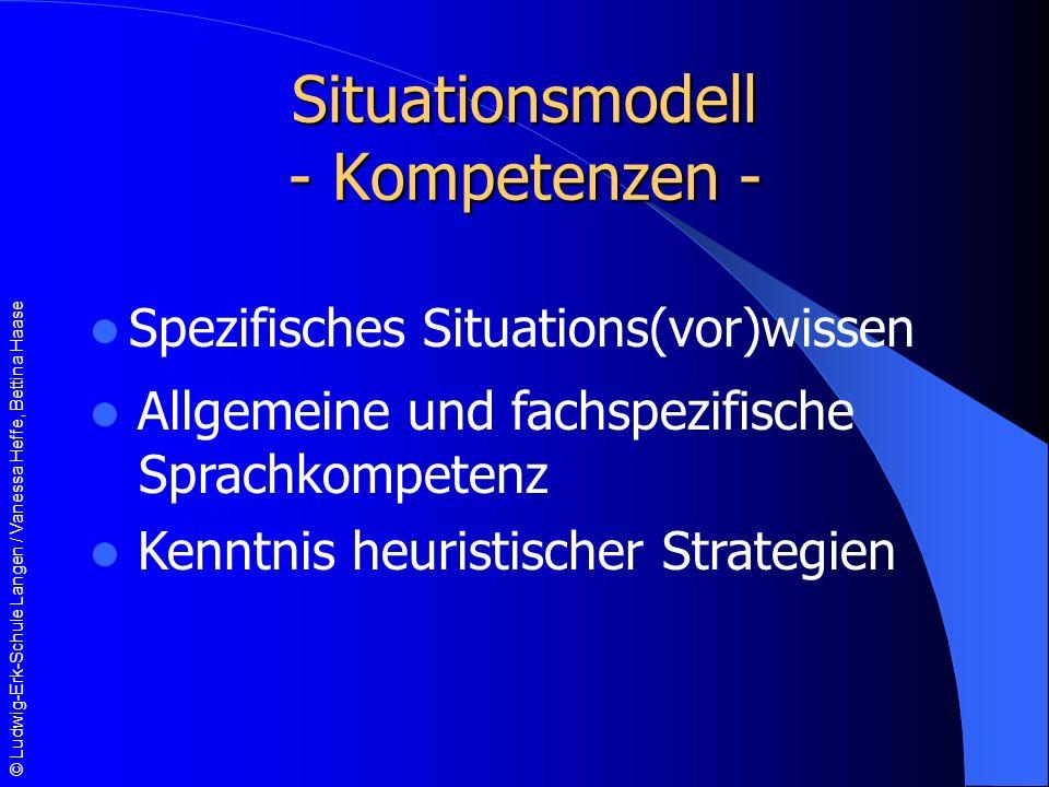 © Ludwig-Erk-Schule Langen / Vanessa Heffe, Bettina Haase Situationsmodell - Kompetenzen - Spezifisches Situations(vor)wissen Allgemeine und fachspezifische Sprachkompetenz Kenntnis heuristischer Strategien