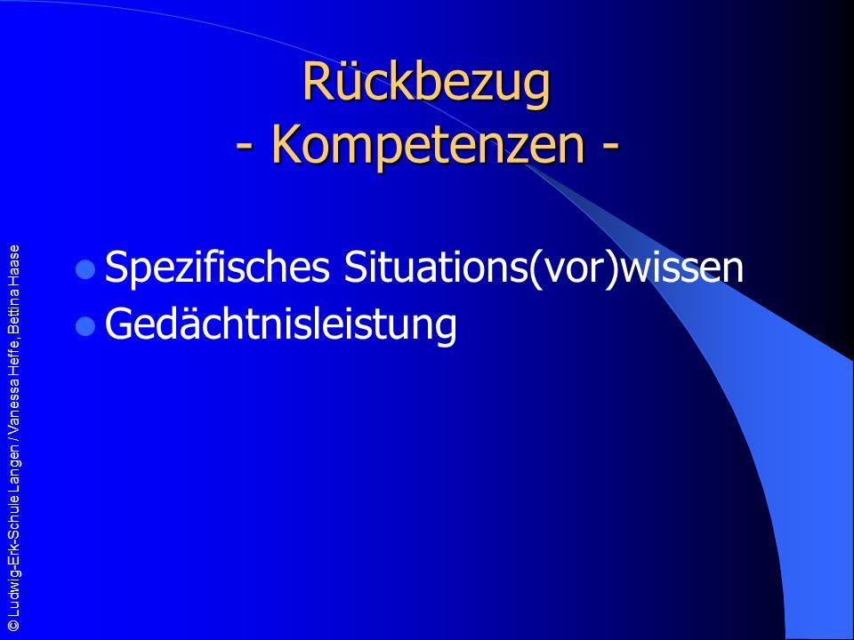 © Ludwig-Erk-Schule Langen / Vanessa Heffe, Bettina Haase Rückbezug - Kompetenzen - Spezifisches Situations(vor)wissen Gedächtnisleistung