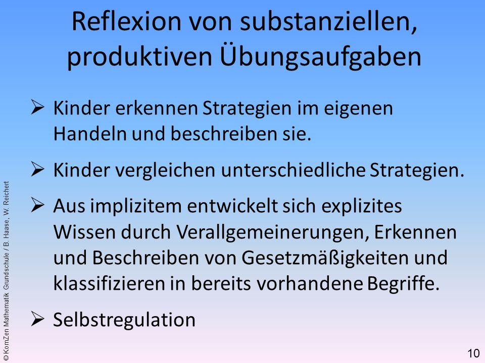 © KomZen Mathematik Grundschule / B. Haase, W. Reichert Kinder erkennen Strategien im eigenen Handeln und beschreiben sie. Kinder vergleichen untersch