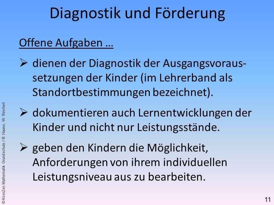 © KomZen Mathematik Grundschule / B. Haase, W. Reichert Offene Aufgaben … dienen der Diagnostik der Ausgangsvoraus- setzungen der Kinder (im Lehrerban