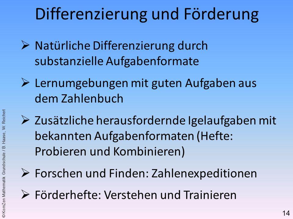 © KomZen Mathematik Grundschule / B. Haase, W. Reichert Natürliche Differenzierung durch substanzielle Aufgabenformate Lernumgebungen mit guten Aufgab