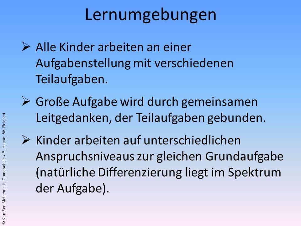 © KomZen Mathematik Grundschule / B. Haase, W. Reichert Alle Kinder arbeiten an einer Aufgabenstellung mit verschiedenen Teilaufgaben. Große Aufgabe w