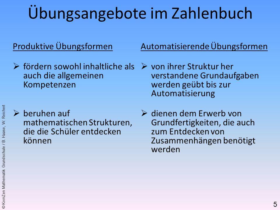 © KomZen Mathematik Grundschule / B. Haase, W. Reichert Produktive Übungsformen fördern sowohl inhaltliche als auch die allgemeinen Kompetenzen beruhe