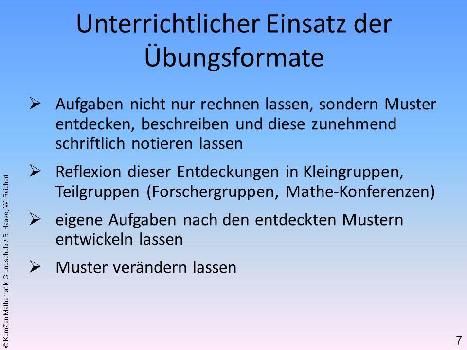 © KomZen Mathematik Grundschule / B. Haase, W. Reichert Aufgaben nicht nur rechnen lassen, sondern Muster entdecken, beschreiben und diese zunehmend s
