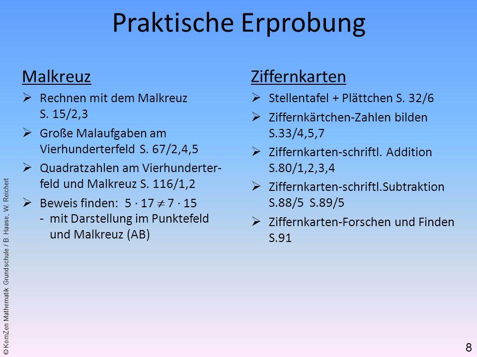 © KomZen Mathematik Grundschule / B. Haase, W. Reichert Malkreuz Rechnen mit dem Malkreuz S. 15/2,3 Große Malaufgaben am Vierhunderterfeld S. 67/2,4,5