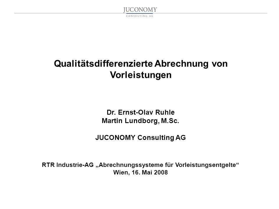 Qualitätsdifferenzierte Abrechnung von Vorleistungen Dr.