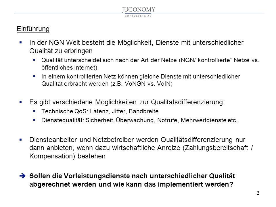 3 In der NGN Welt besteht die Möglichkeit, Dienste mit unterschiedlicher Qualität zu erbringen Qualität unterscheidet sich nach der Art der Netze (NGN/kontrollierte Netze vs.