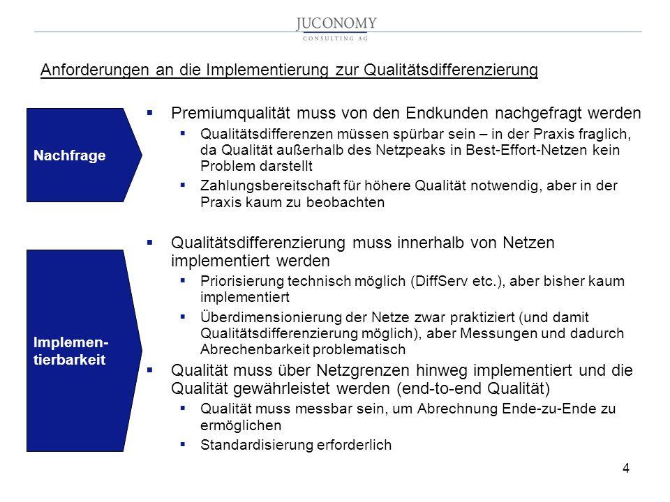 4 Premiumqualität muss von den Endkunden nachgefragt werden Qualitätsdifferenzen müssen spürbar sein – in der Praxis fraglich, da Qualität außerhalb des Netzpeaks in Best-Effort-Netzen kein Problem darstellt Zahlungsbereitschaft für höhere Qualität notwendig, aber in der Praxis kaum zu beobachten Qualitätsdifferenzierung muss innerhalb von Netzen implementiert werden Priorisierung technisch möglich (DiffServ etc.), aber bisher kaum implementiert Überdimensionierung der Netze zwar praktiziert (und damit Qualitätsdifferenzierung möglich), aber Messungen und dadurch Abrechenbarkeit problematisch Qualität muss über Netzgrenzen hinweg implementiert und die Qualität gewährleistet werden (end-to-end Qualität) Qualität muss messbar sein, um Abrechnung Ende-zu-Ende zu ermöglichen Standardisierung erforderlich Anforderungen an die Implementierung zur Qualitätsdifferenzierung Nachfrage Implemen- tierbarkeit