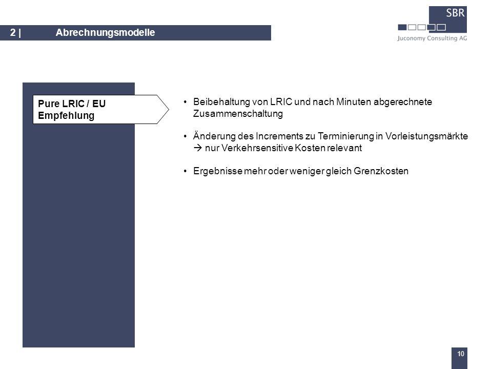 9 2 | Abrechnungsmodelle Übertragung der IP-Peering-Prinzipien auf die regulierte Zusammenschaltung Zwei Varianten: – settlement free peering (vgl.